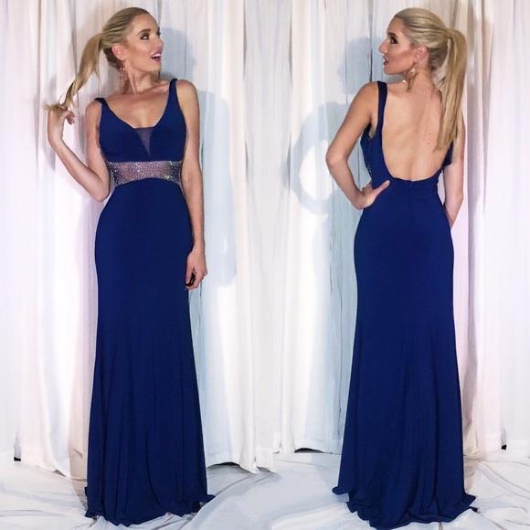 Blue Fitted Rhinestone Illusion Bodice Prom Dress. Boutique. B. Smart 9262787ac